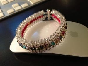 Bracelet RAW Recto Verso - argenté et rouge Crystal Swarovski
